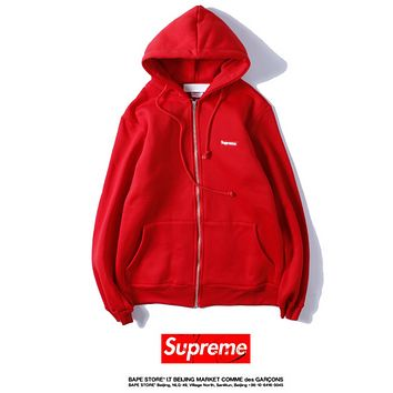 SUPREME embroidered small standard tied rope hooded cardigan zipper patch pocket long-sleeved straight sweater Red