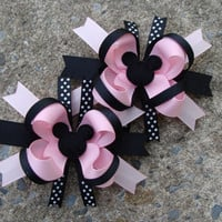 2 Light Pink and Black  Minnie Mouse pigtail by MyLuckyHairBow