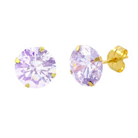 14k Yellow Gold Lavender Cubic Zirconia Stud Earrings Round Birthstone CZ