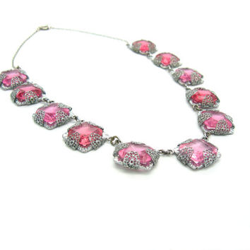Art Deco Necklace Set. Rose Pink Czech Glass. Rhodium Silver Filigree. Dangle Screwback Earrings. Vintage 1930s Art Deco Antique Jewelry.
