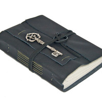 Black Leather Journal with Key Bookmark - Ready to Ship -