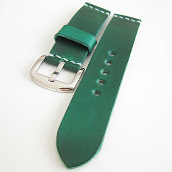 Green Watch Strap, 22mm Leather Strap