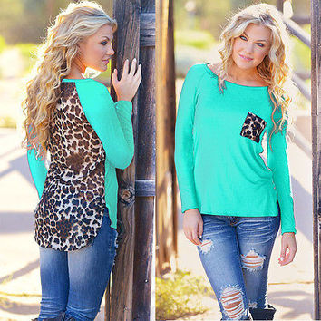 New Women Leopard Long Sleeve Top Casual T-Shirt Ladies Loose Sexy Top