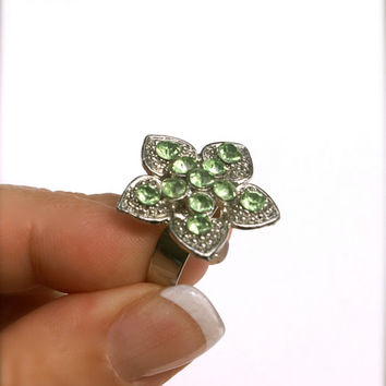 10 dollar SALE!!...Vintage Rhinestone Ring Green Flower Costume Adjustable Wide Silver Tone Band