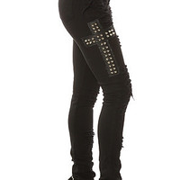 Tripp NYC High Waisted Ripped and Cross Studded Skinny Jean in Black
