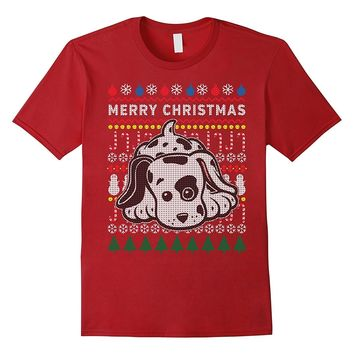 Cute Spotted Puppy Merry Christmas Ugly Sweater Style Tshirt