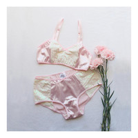 """Glamorous Sequin Lingerie Set """"Astrid"""" Pink and White Opalescent Glittery Sequin Bridal Soft Bra and Hipster Panties"""