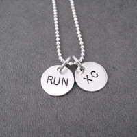 RUN XC Sterling Silver 2 Disc Cross Country Necklace - Choose 16, 18 or 20 inch Sterling Silver Ball Chain - Cross Country Necklace - XC