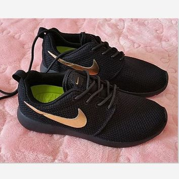 Nike Roshe Fashion Casual Black Golden Run Sport Casual Shoes Sneakers Black golden hook G
