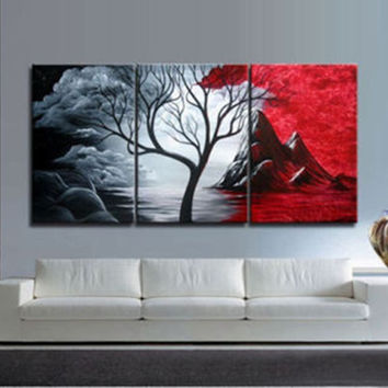 3PIECES MODERN ABSTRACT HUGE WALL ART OIL PAINTING ON CANVAS No FRAME