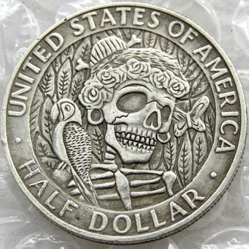 Hobo Creative 1964 Kennedy Silver Half Dollar skull zombie skeleton hand carved Copy Coins