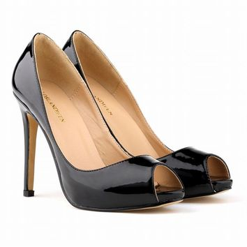 Fashion Star Models Patent Leather Bridal Shoes Open Toe High Heels Shoes 11CM Sexy Pumps Sandals Heels Woman Shoes