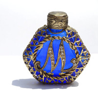 Vintage Perfume Mini Bottle in Cobalt Blue Initial M