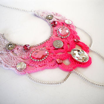 ooak statement necklace pink fuchsia bib by katerinaki1977 on Etsy