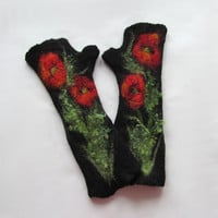 Felted Mittens fingerless gloves  -  Black red Poppy