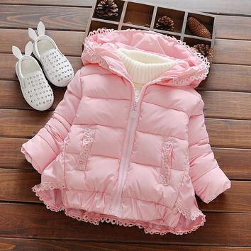 Fashion Girls winter clothing Baby Girl Lace thickening hooded jackets outerwear Children Warmer cotton-padded Coats pink red