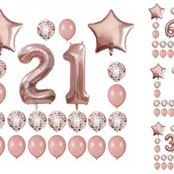 21ST BIRTHDAY Balloons Rose Gold Set | 1st Baby Shower Party Balloons | Sweet 16 Birthday Party | Rose Gold Birthday Party Balloons Bouquet