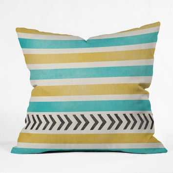 Allyson Johnson Green And Blue Stripes And Arrows Throw Pillow