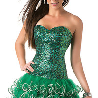 Strapless Green Sequin Homecoming Dress