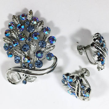 Aurora Borealis Lisner Jewelry, Blue AB Floral Brooch and Earrings, Vintage 1950s 1960s Silver Tone Bouquet Pin and Screw Back Earring Set