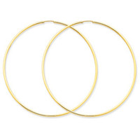 14k Yellow Gold (1.5mm) Endless Hoop Earrings, Large Sizes