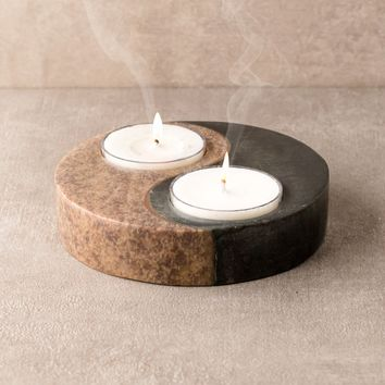 Yin Yang Stone Candle Holder
