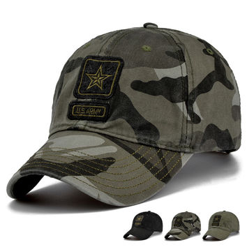 New Men Pentagram Cap Top Quality U.S. Army Caps Men's Hunting Fishing Hat Outdoor Camo Baseball Hats Adjustable