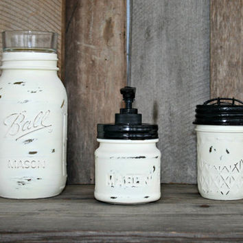 Mason Jar Bath Set, including soap dispenser - Painted in Old White and Distressed - Rustic, Country, Shabby Chic, Farmhouse, Vintage Style
