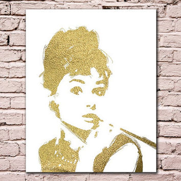 Audrey Hepburn Gold Digital Art Download Digital Print Canvas Art Art Print Large Painting Instant Download 8x10