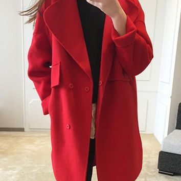 New Red Pockets Turndown Collar Long Sleeve Elegant Coat