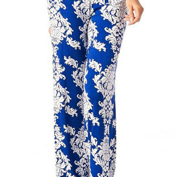 White Blue Floral Patterned Palazzo Pants