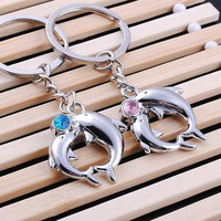 1Pair Dolphins Lover Metal Couples Baby Crystal Key Ring Chain Keyfob Creative Gift GangGangFa = 1929985412