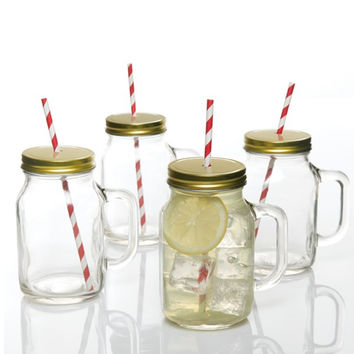 Gibson Home Boogaloo 4 Pack 19oz Mason Jar w/Lid and Straw