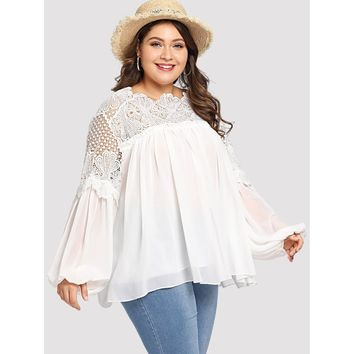 Plus Bishop Sleeve Lace Insert Blouse