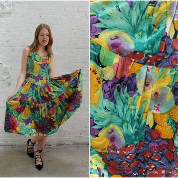 vintage 80s cotton sleeveless midi dress / tropical fruit print sundress / festival dress