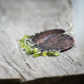 Rustic Dark Copper and Natural Raw Peridot Earrings//Rustic Earthy// Boho Natural Earrings// Dark Copper and Green Earrings