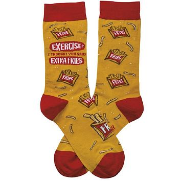 Exercise? I Thought You Said Extra Fries Socks in Red and Yellow