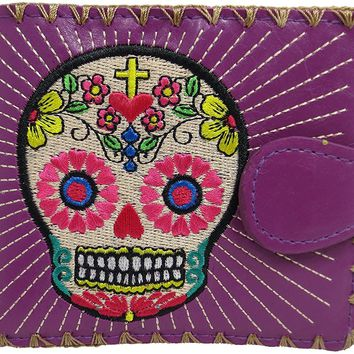 Flower Sugar Skull Day of the Dead Embroidered Medium Wallet