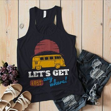 Women's Vintage Van Tank Camping Shirts Let's Get Lost Graphic Top Travel Road Trip
