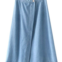Denim A-Line Pleated Mini Skirt