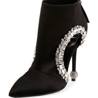 Roger Vivier Crystal-Trimmed Cutout Bootie