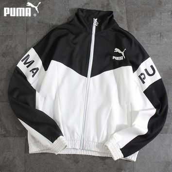 PUMA popular casual men and women windbreaker fashion black and white sports thin coat
