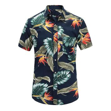 Dioufond Casual Mens Beach Hawaiian Shirts Cotton Floral Print Short Sleeve Tops Man Turn Down Color Plus Size Mens Blouses 2018