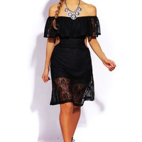 Trendy Cute black lace ruffle off shoulder cut out party midi dress for cheap. Womens Clothing -1015store