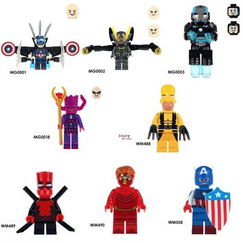 50pcs Captain America Yellow Jacket Figures Iron Man Galactus War Machine Deadpool The Flash building blocks toys for boys