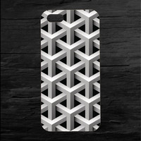 3D Lattice Effect Cell Phone Case Black and White