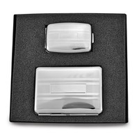 Silver-tone Cigarette/Card Case with Pillbox - Engravable Personalized Gift Item