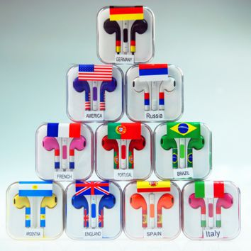 Universal Colorful Flag Earbuds with Mic and Cas