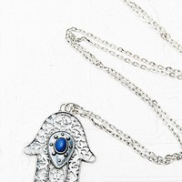 Hamsa Hand Pendant Necklace in Silver - Urban Outfitters
