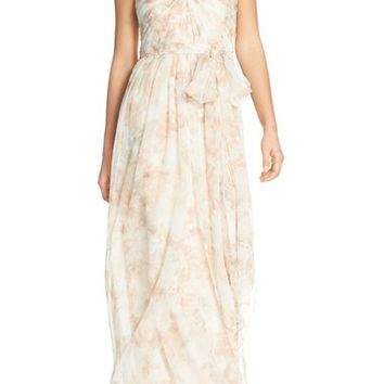 Jenny Yoo 'Nyla' Floral Print Convertible Strapless Chiffon Gown | Nordstrom